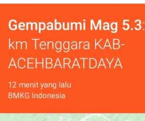 Gempa Berskala 5.3 SR Guncang Aceh Barat Daya