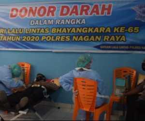 Sambut HUT Lalu Lintas ke-65, Polres Nagan Raya Gelar Donor Darah