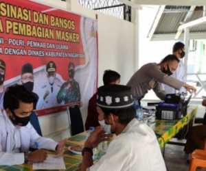 Nagan Raya Laksanakan Vaksinasi Bansos dan Pembagian Masker