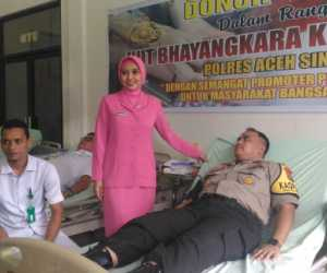 HUT Bayangkara ke 73, Polres Aceh Singkil Gelar Donor Darah