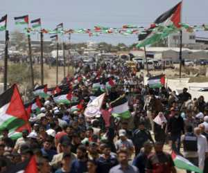 Peringati Hari Nakbah Ribuan Warga Gaza Turun ke Jalan