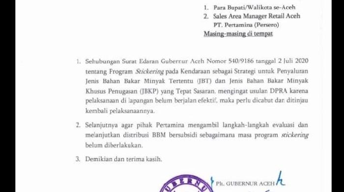 Gubernur Minta Bupati se Aceh Cabut Aturan Penggunaan BBM Stickersing