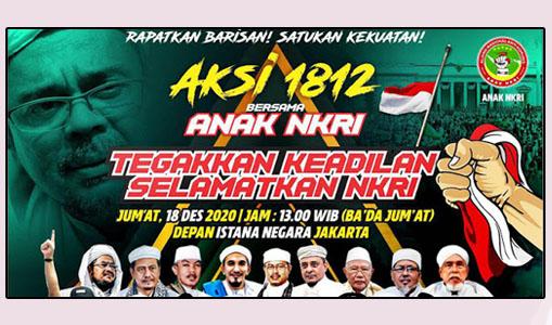 Besok, Aksi Damai 1812 Digelar Didepan Istana Jakarta