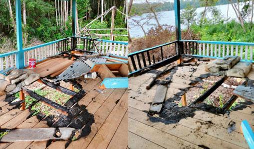 Mushalla di Lokasi Wisata Laot Bhee Aceh Jaya di Bakar OTK