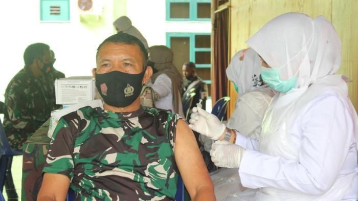 Puluhan Personil Kodim Aceh Jaya Jalani Vaksin Tahap Ke II
