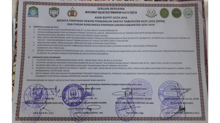 Dalam Himbauan Bersama, Pemkab Aceh Jaya Ajak Semarakkan Ramadhan