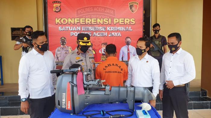 Polisi Tangkap Pencuri Mesin Boat Tempel Milik Nelayan di Aceh Jaya
