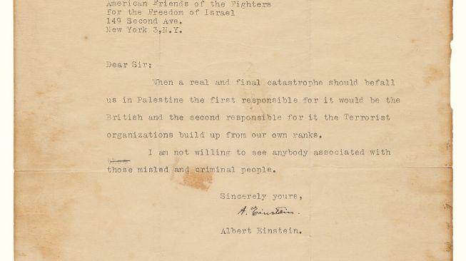 Melalui Surat 50 Kata, Albert Einstein Ramalkan Kehancuran Israel